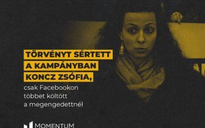 Csak Facebookon többet költött Koncz Zsófia a megengedettnél